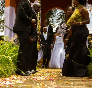 newly weds out of the altar